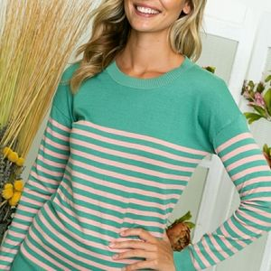 Striped Lightweight Elbow Patch Sweater